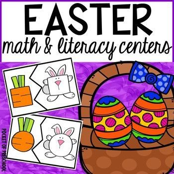 Easter math and literacy centers for preschool, pre-k, and kindergarten. 13 hands on centers to keep students engaged and learning.