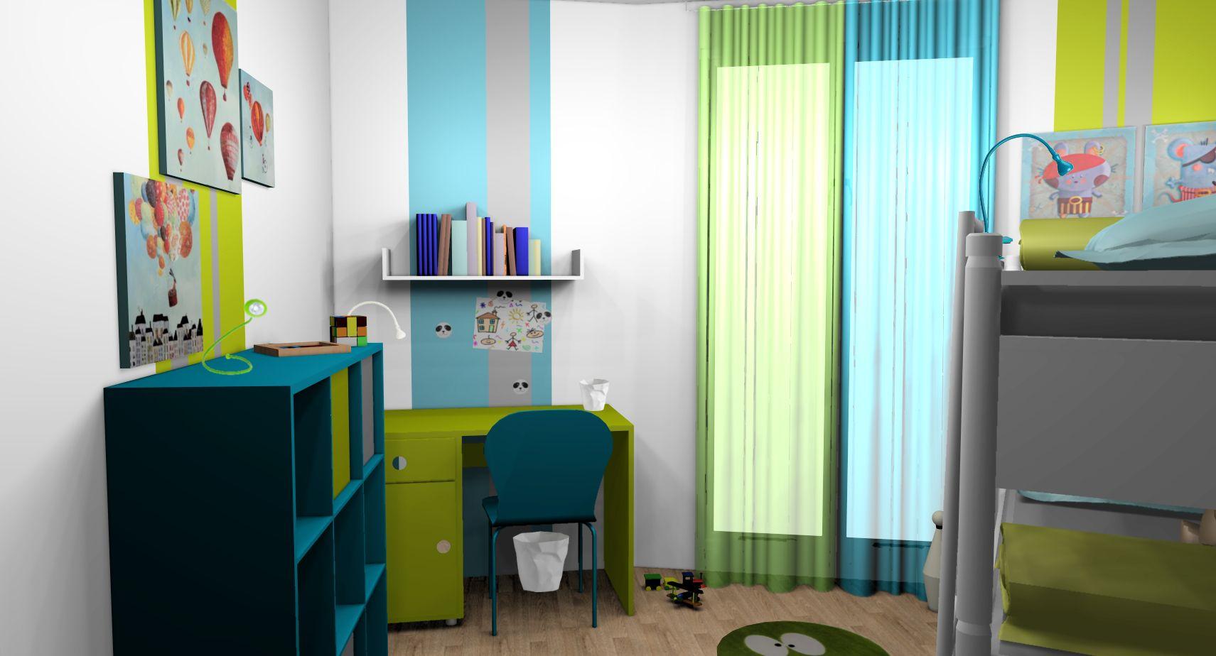 Chambre enfant garçons anis turquoise lits superposés | chambre ...