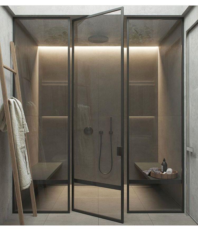 Cool Shower Lighting Tinted Glass Doors Bathroom Interior Design Bathroom Design Luxury Modern Bathrooms Interior