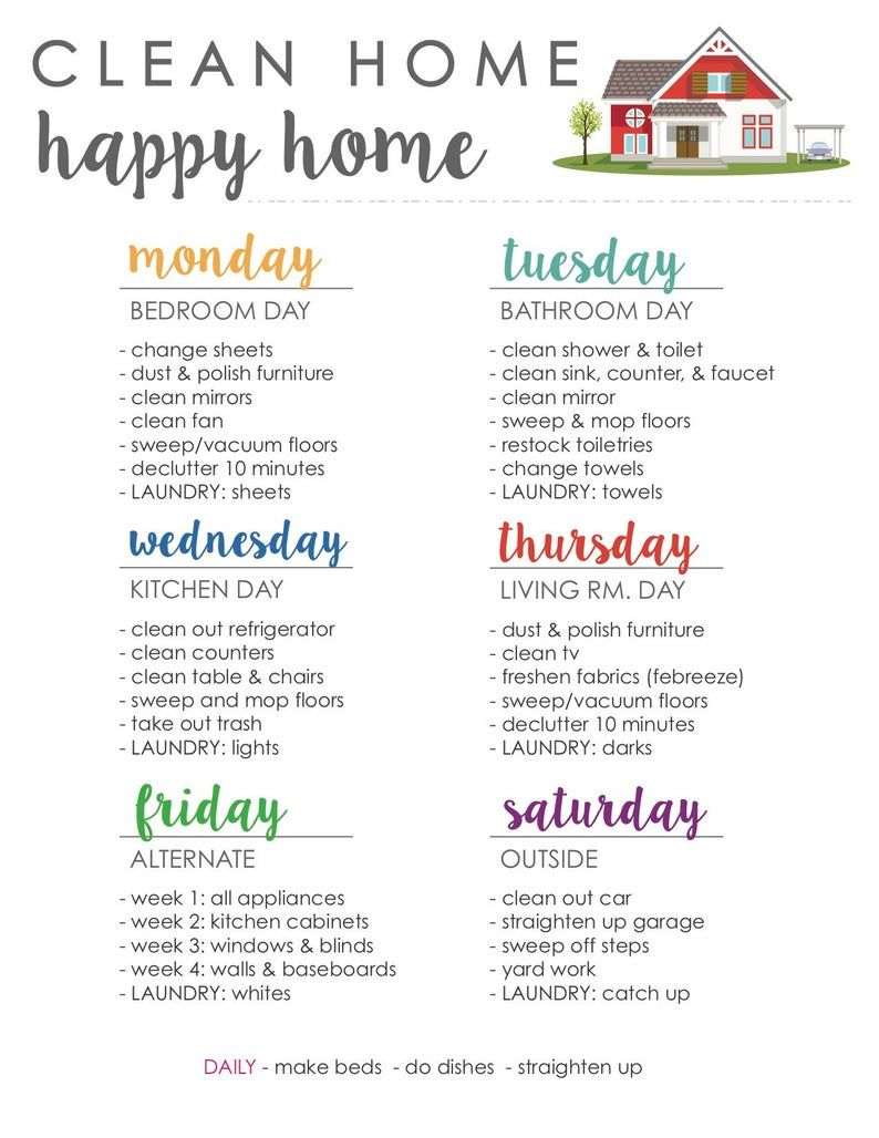 Clean Home Happy Home Cleaning Schedule  1 | Etsy