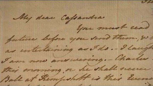 "Jane Austen letter to her sister mentions the as yet unpublished novel ""Pride and Prejudice"" The letter is to auctioned by Torquay Museum to raise funds for it's endowment. Dec. 2014."