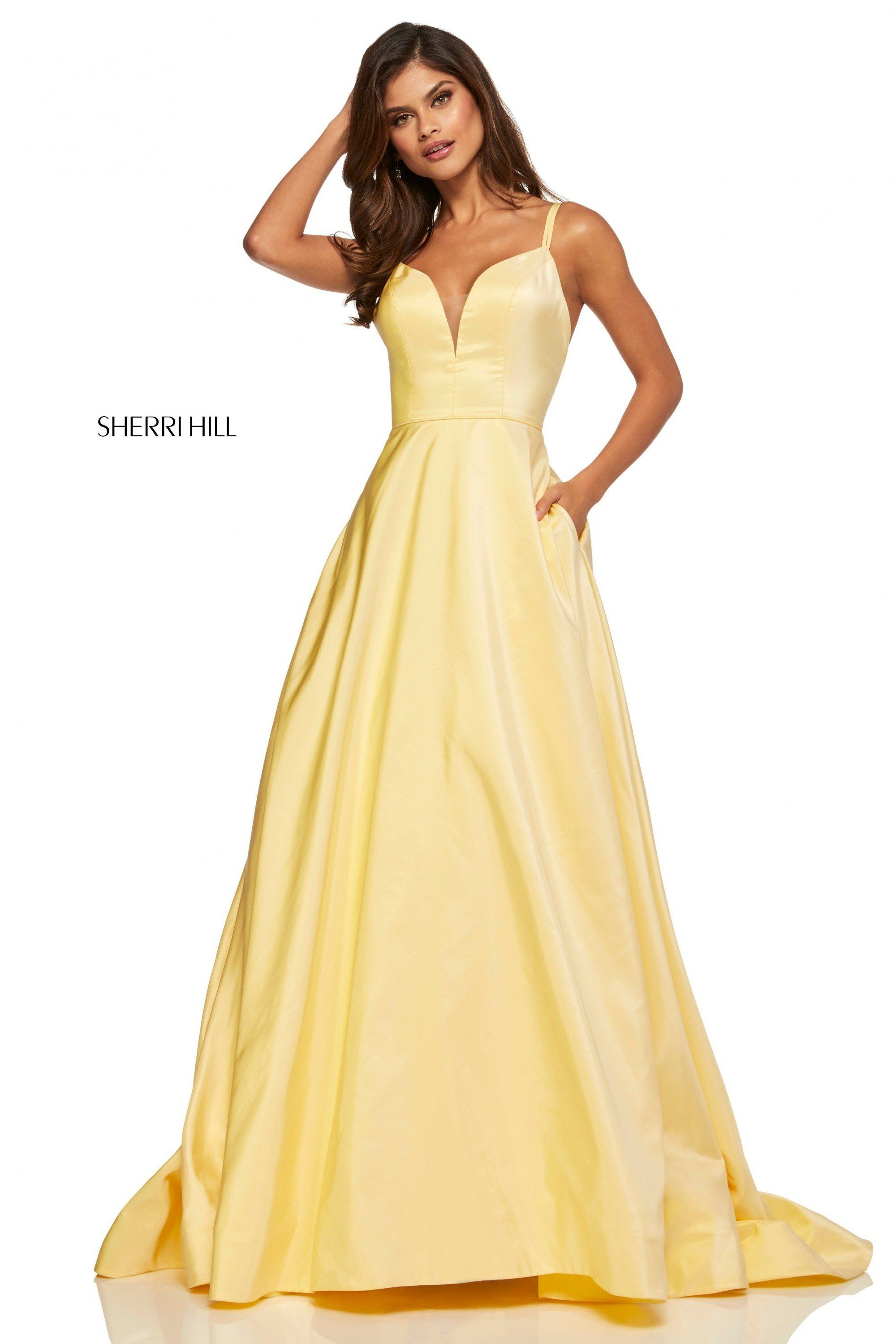 21a39672739 Sherri Hill 52506 Yellow Taffeta Ball Gown in 2019