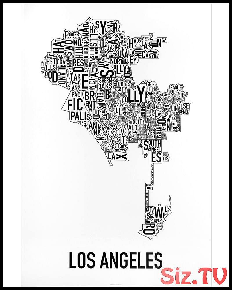 Los Angeles Neighborhood Map 24 X 36 Classic Black White Poster Los Angeles Neighborhood Map 24 X 36 C Los Angeles Poster Atlanta Neighborhoods Map Poster City