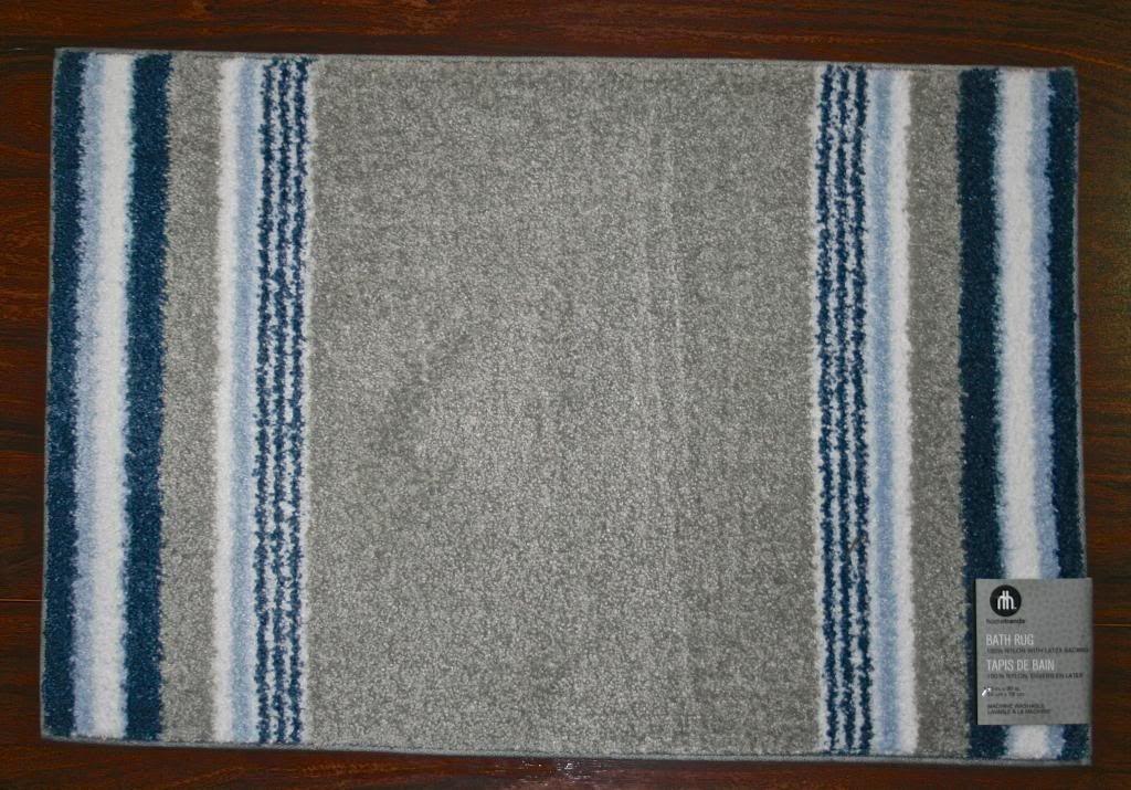 20x30 Bathroom Bath Rug Mat Washable Mats Rugs Grey Gray Navy Blue Cute Stripes Grey Rugs Bath Rug Mat Rugs