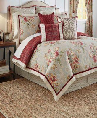 Keeco Waverly Fresco Flourish 4 Piece Reversible King Comforter Set Reviews Bedding Collections Bed Bath Macy S Comforter Sets Bed Linen Sets King Comforter Sets