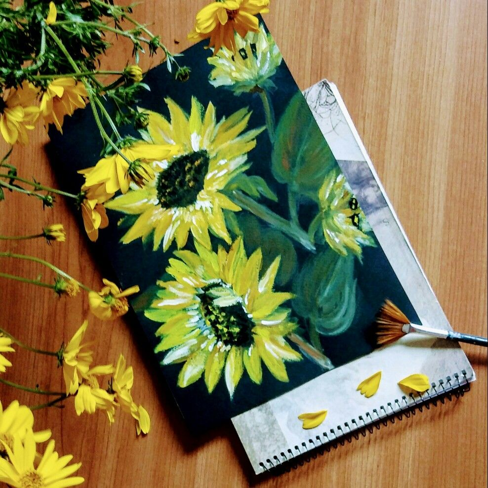 Słoneczniki sunflower portfolio drawing nature