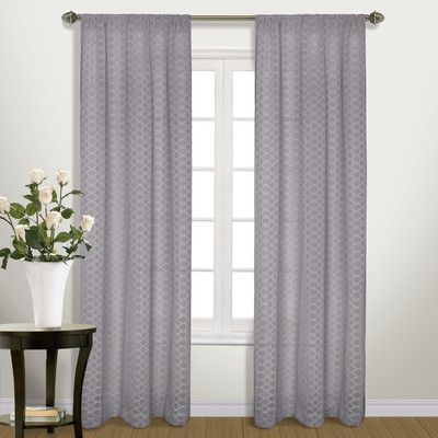 "United Curtain Co. Belmont Single Curtain Panel Color: Platinum, Size: 45"" W x 84"" L"