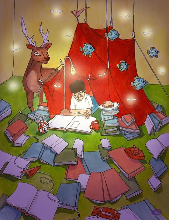 """Natalie Clapp, """"Reading Frenzy""""   Ah the colors/perspective/concept/ everything <3"""