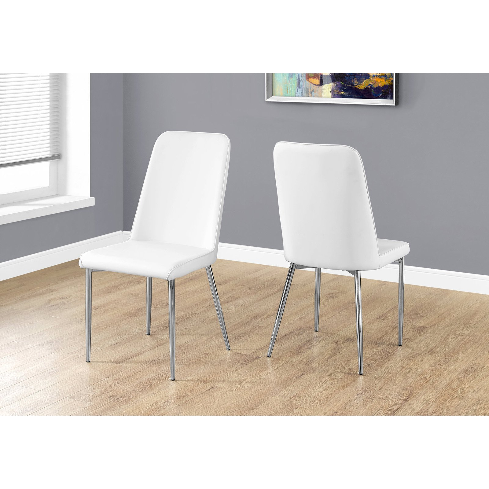 Monarch Specialties 37 In Faux Leather And Chrome Dining Chair Set Of 2 White