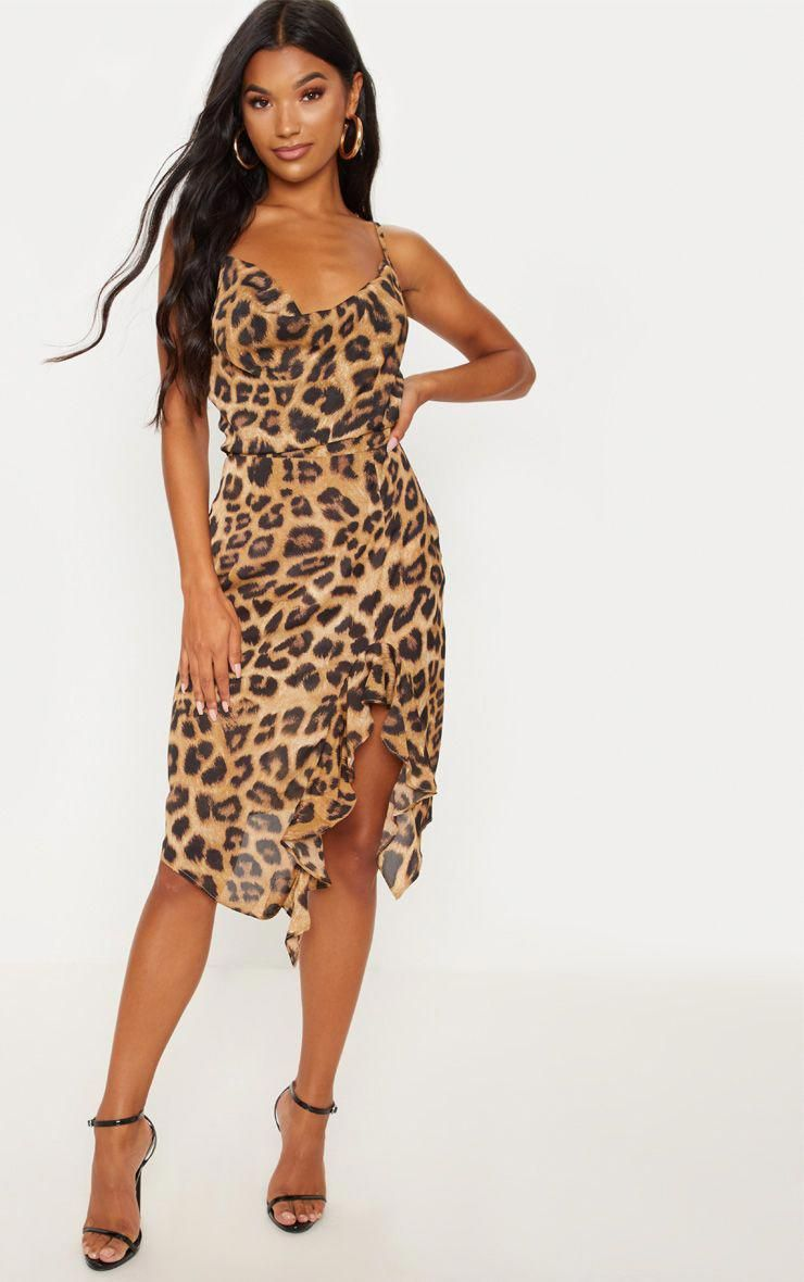Tan Leopard Print Cowl Neck Frill Split Midi Dress Cheap Midi Dress Animal Print Dresses Fashion