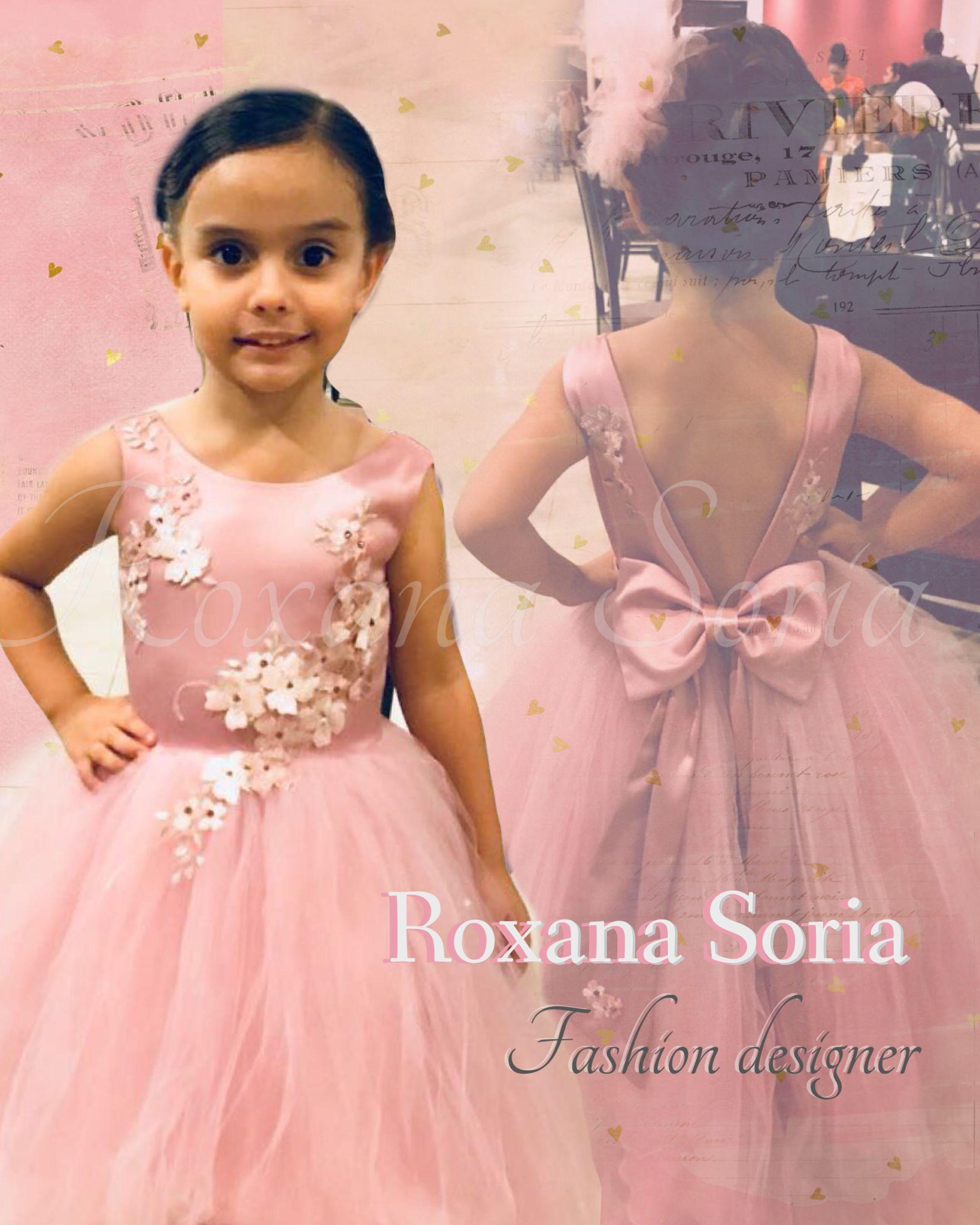 Diseño de Roxana soria #vestido #fiesta #niña #rosa #RoxanaSoria ...