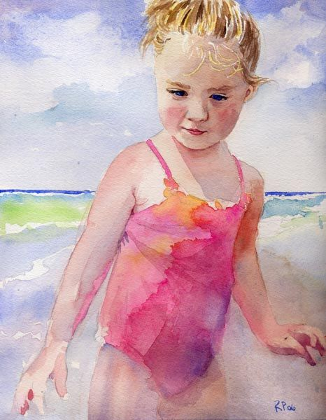 Girl art Child Children Girl Ocean Sea Beach by rachelsstudio