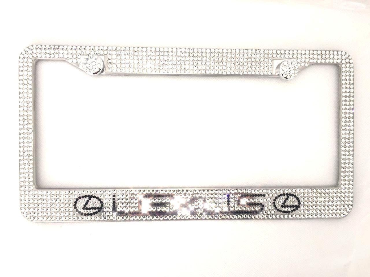 License Plate Frame glass Crystal Bling Black great everything BMW to Lexus