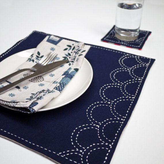 Cloth Placemats Sashiko Waves Abstract Japanese Traditional Set of 2