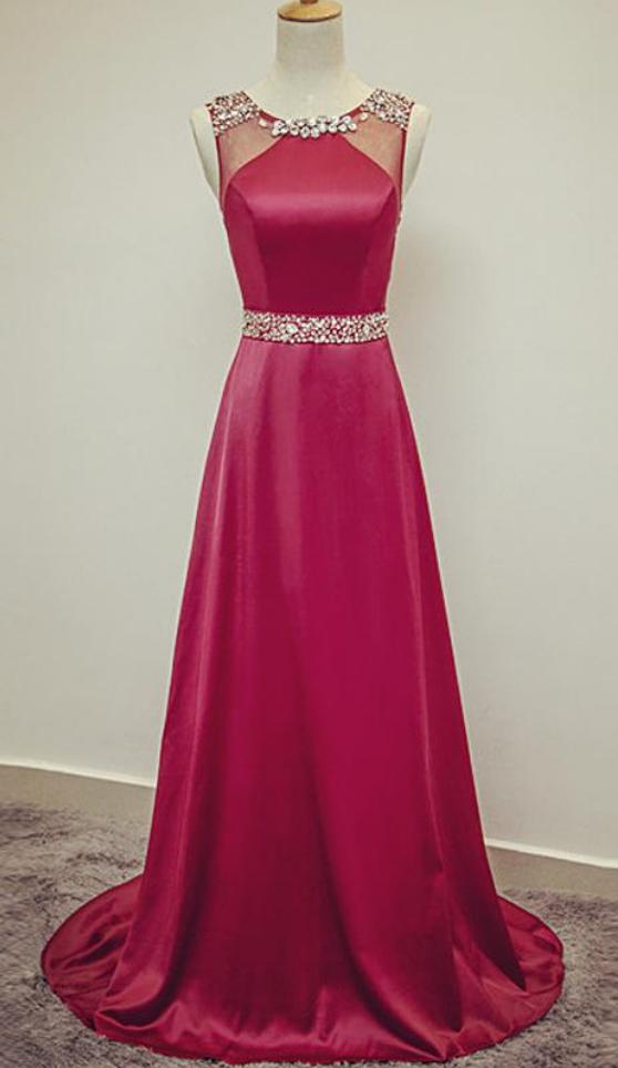 b93a6a6bf2b6 Sheer Neck Crystal Beaded Satin Evening Dress Floor Length Formal ...