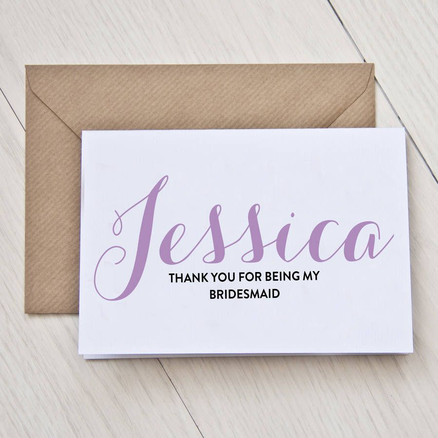 Personalised Bridesmaid Thank You Card Bridesmaid Favors And Favors