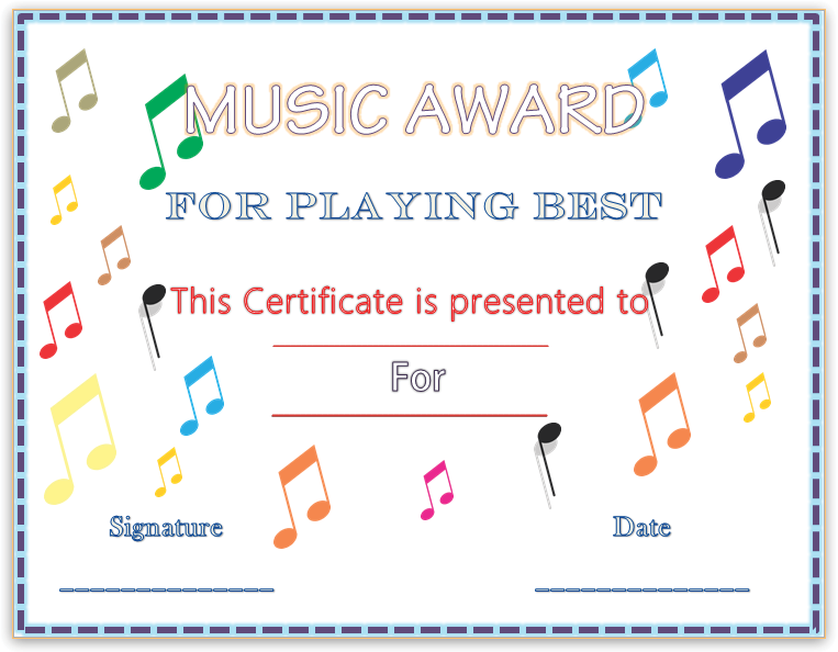 Colorful Musical Notes Award Certificate Template  Things For My
