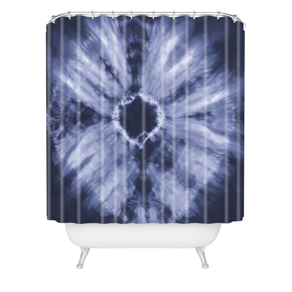 Amy Sia Tie Dye Navy Shower Curtain | Amy and Shibori