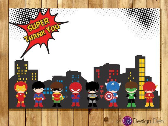 Super Hero Birthday Party Matching Thank You Card Comic Book Style