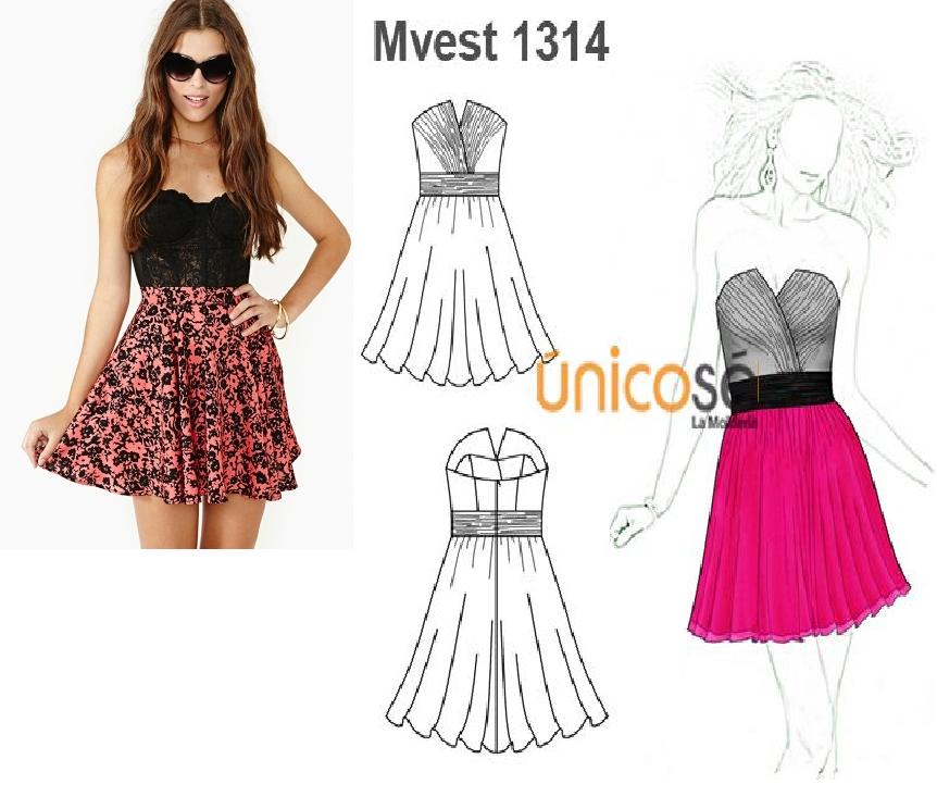 Este vestido es ideal para una fiesta de matrimonio o año nuevo. Puedes combinarlo con los colores que tu quieras. El molde está en www.unicose.net / Código 10101314