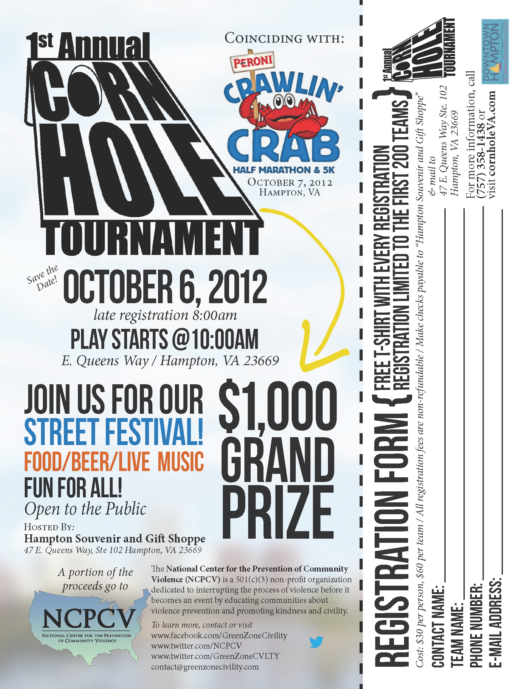Ncpcv Etc Corn Hole Tournament Flyer Registration Form