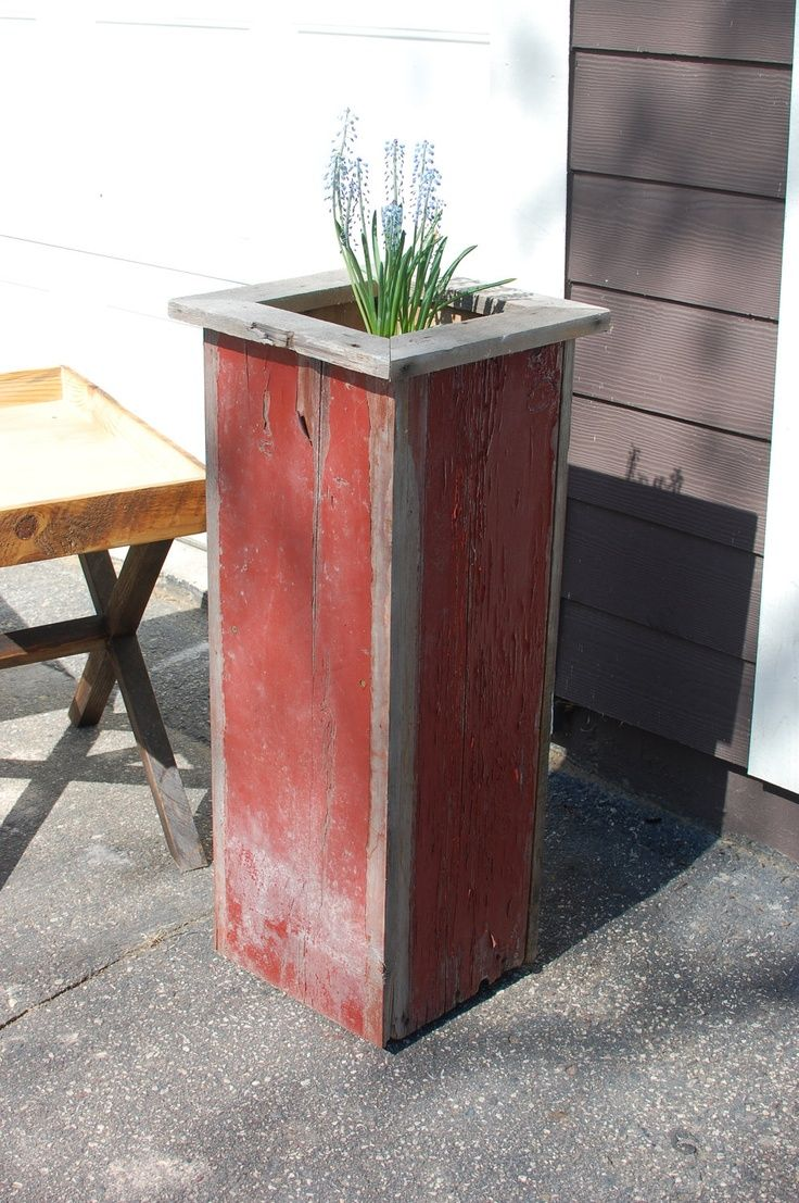 Flowers Planted In A Barnwood Planter The Katie Planter Box Chippy Reclaimed Barnwood Plant Stand 150 00 Tall Planter Boxes Planter Boxes Wood Planters