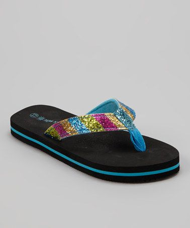 Another great find on #zulily! Blue & Black Sparkle Stripe Flip-Flop by Raya Sun #zulilyfinds