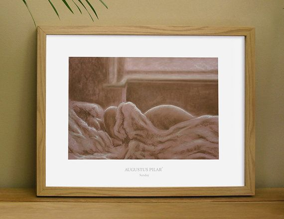 Art print of conte pencil drawing of 'Sunday' by Augustus Pilar