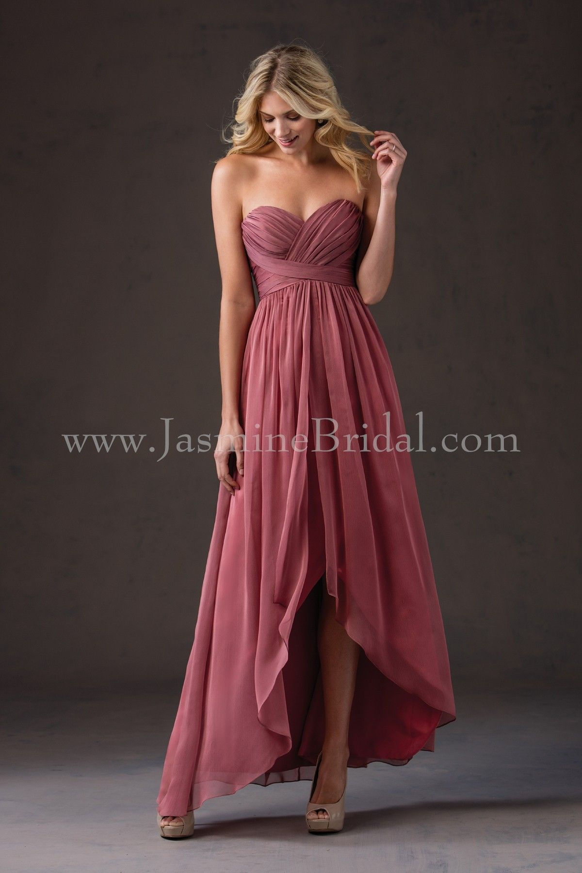 Jasmine bridal bridesmaid dress belsoie style l184052 in for Hi lo hemline wedding dresses