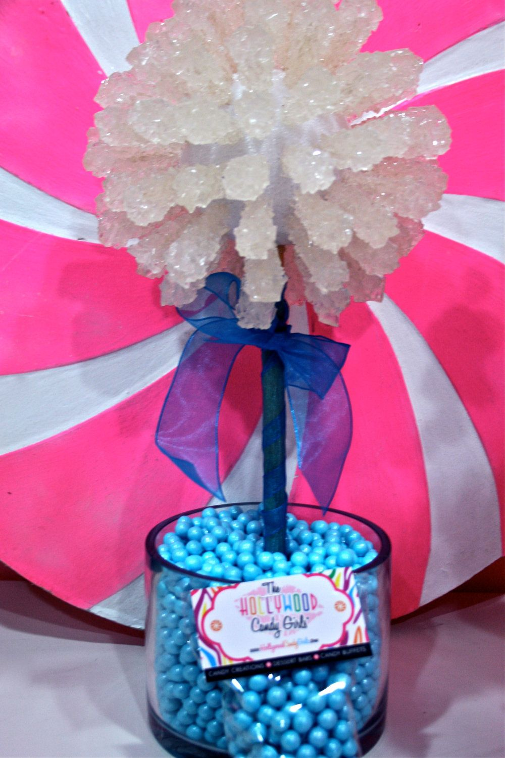 Rock candy themed wedding blue centerpiece