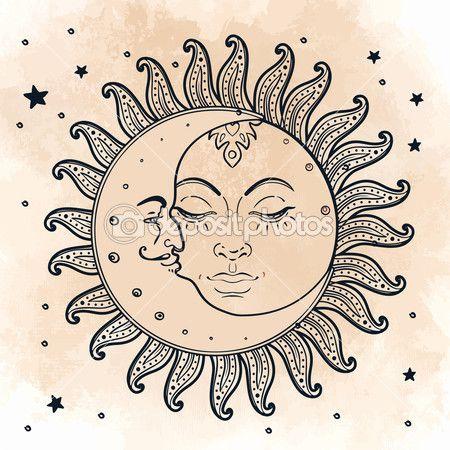 El Sol Y Luna Ilustracion Estilo Vintage Vector De Stock