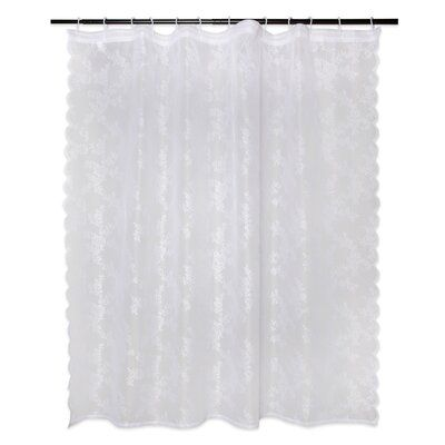 August Grove Andrade Lace Single Shower Curtain Lace Shower Curtains Vinyl Shower Curtains White Ruffle Shower Curtain