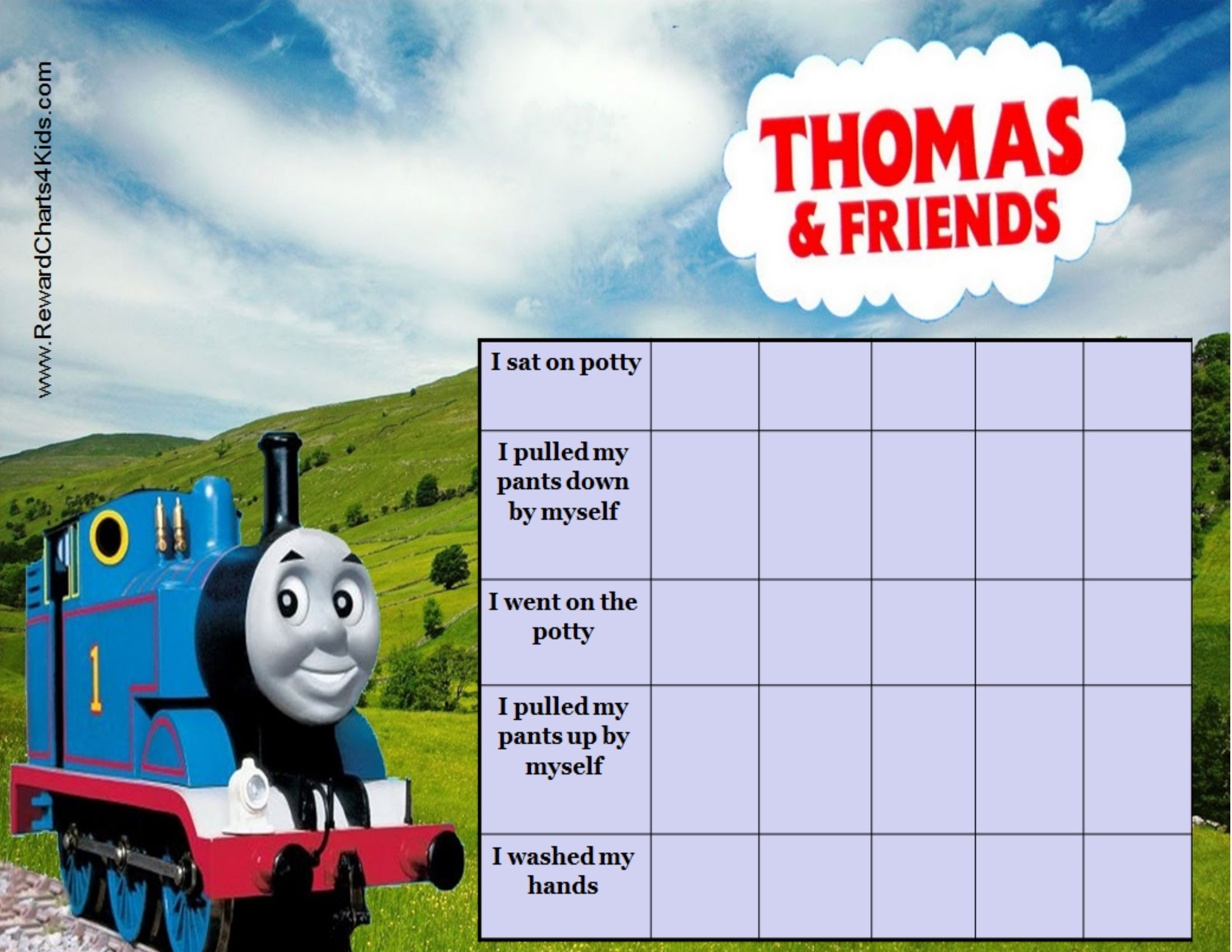 thomas and friends potty training chart