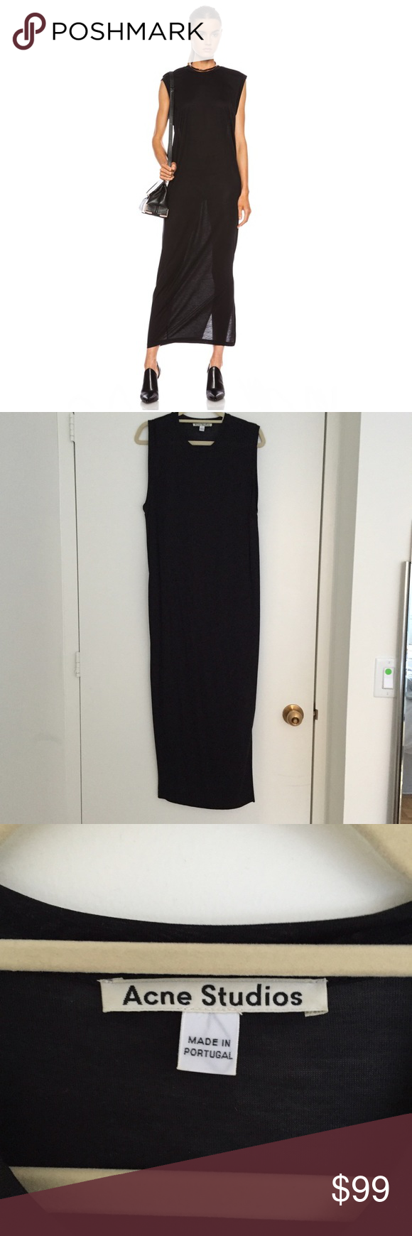 Long Black Jersey Dress Side slits, sleeveless, slips on, silken jersey, oversized bodice. Length: 50 inches from shoulder. In perfect condition. Very comfortable and soft. Perfect to throw on any day! No trades please :) Acne Dresses Maxi