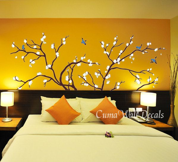 tree wall decals birds vinyl wall decals cherry blossom wall decals ...