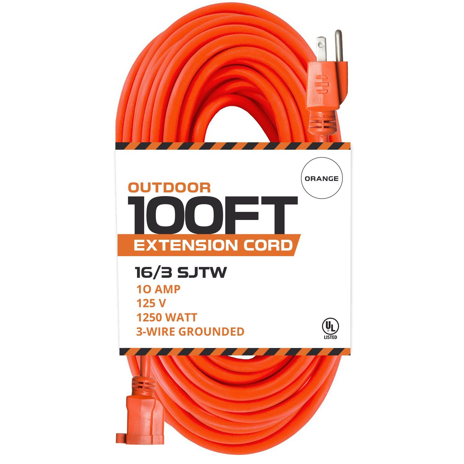 100 Ft Orange Extension Cord 16 3 Sjtw Heavy Duty Outdoor Extension Cable With 3 Prong Grounded Plug For Safe Extension Cord Extension Cable Major Appliances
