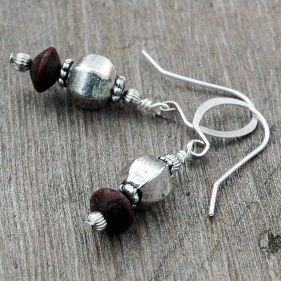 Wood and Silver Bead Earrings, Moorish Inspiration, Dark Brown ...