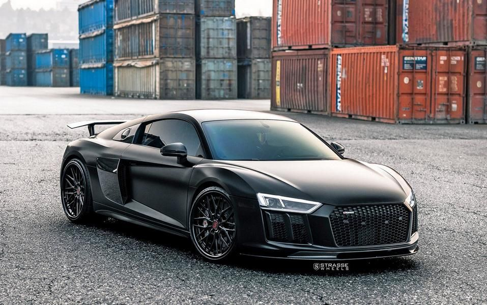 Audi R8 V10 Plus Boasting Sichtcarbon Body Kit A Satin Black Foil And A Set Of Strasse Forged Wheels Black Audi Audi Audi R8