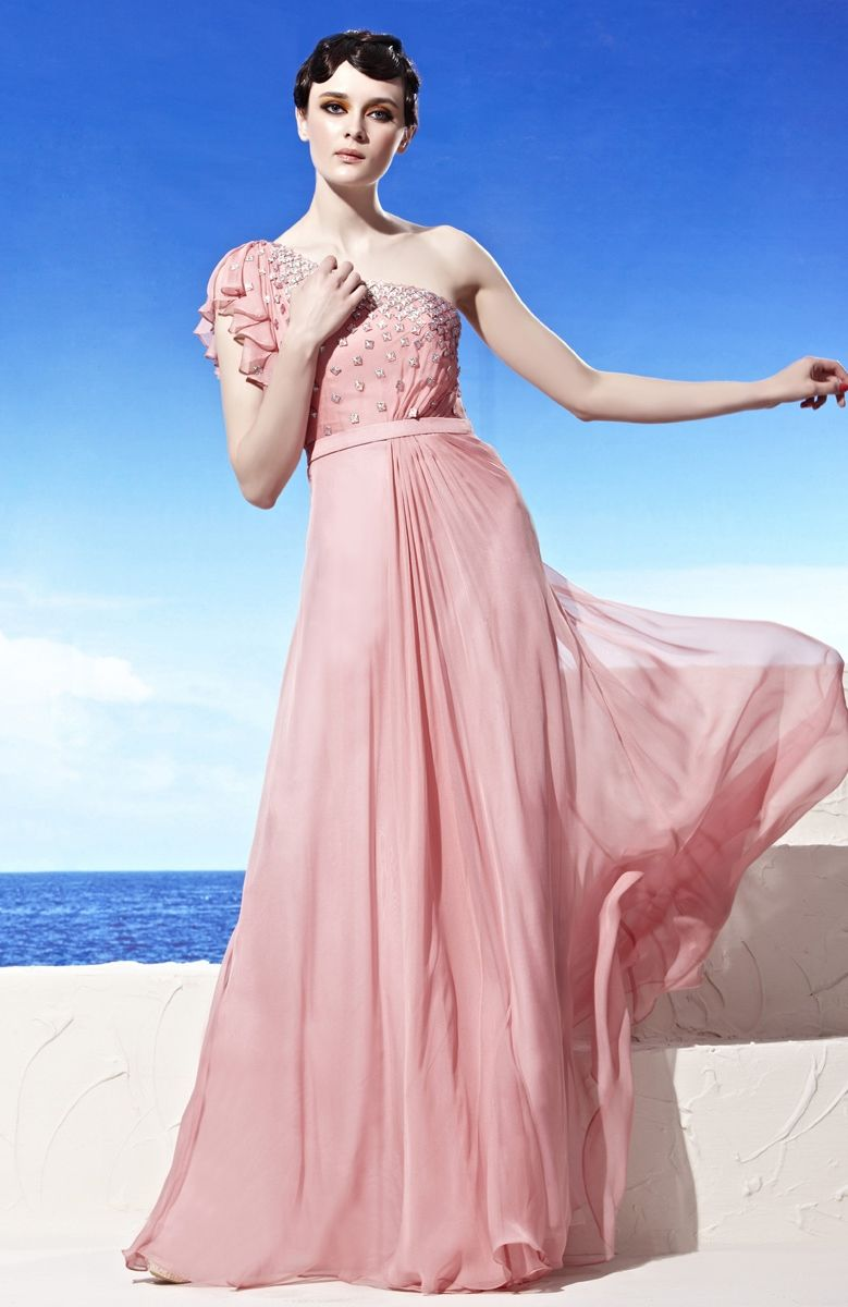 This is a lovely dress. The Crystal Studed One Shoulder Grecian ...