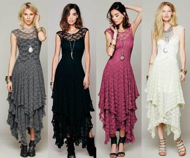 Vestidos elegantes estilo hippie