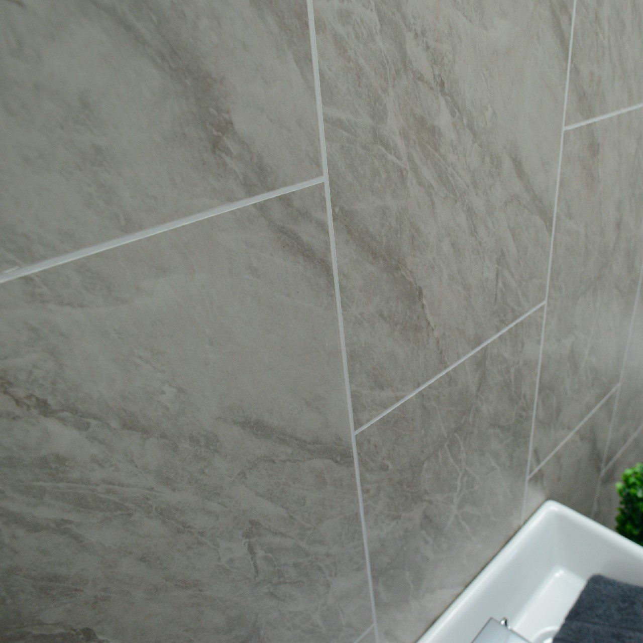 Grey marble bathroom wall panels Tile effect cladding used