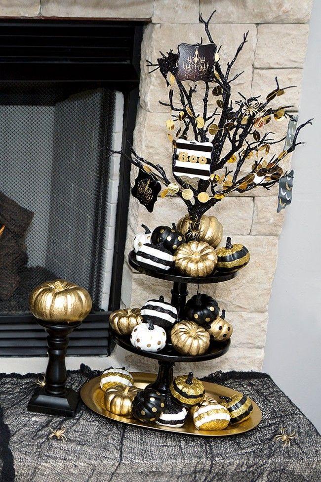 Black  Gold Halloween Mantel Ideas by Lillian Hope designs Happy
