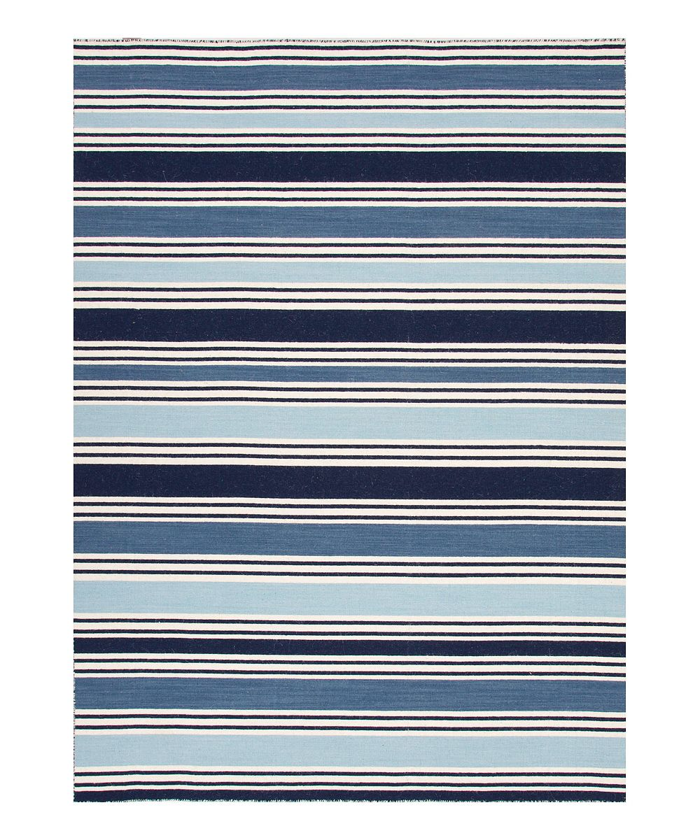 Navy Amp Light Blue Stripe Wool Flat Weave Rug Products