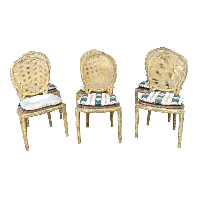 1950s Vintage French Country Dining Chairs Set Of 6