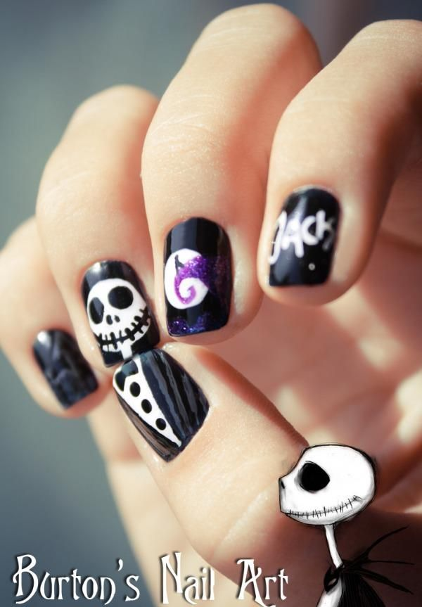 Jack Skellington Nails with Jack, scene, and his name ...