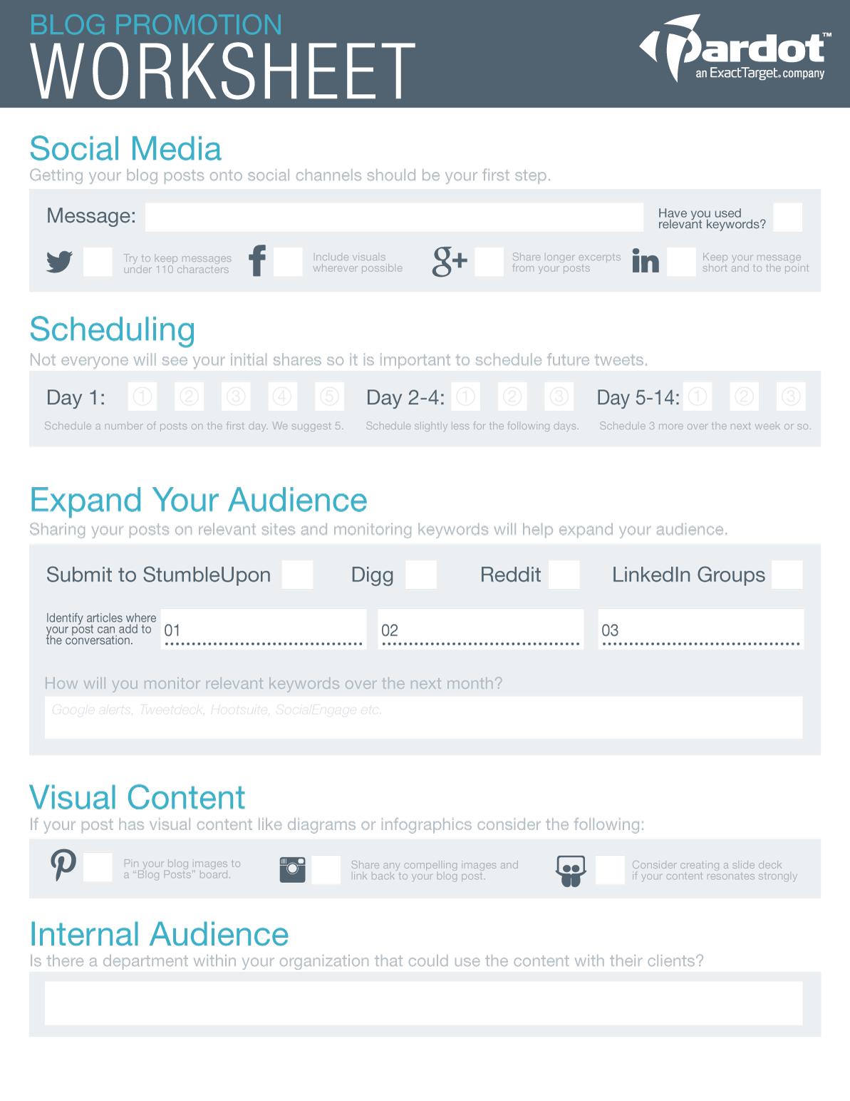 Worksheets Promotion Worksheet blog promotion worksheet you can publish incredible content but no