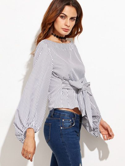 3b873ba2f862f Black And White Striped Bow Tie Front Blouse. Exaggerated Lantern Sleeve  Striped Top -SheIn(Sheinside) ...