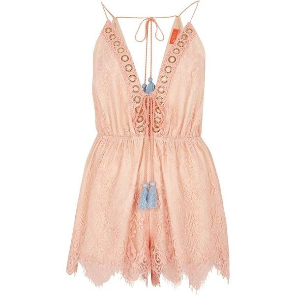 River Island Coral lace tie up plunge beach romper (€49) ❤ liked on Polyvore featuring swimwear, cover-ups, tie-dye swimwear, beach cover ups, lace cover up, lace cover ups and lace beach cover up