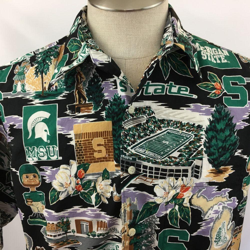 Reyn Spooner Michigan State Shirt Sport Hawaiian