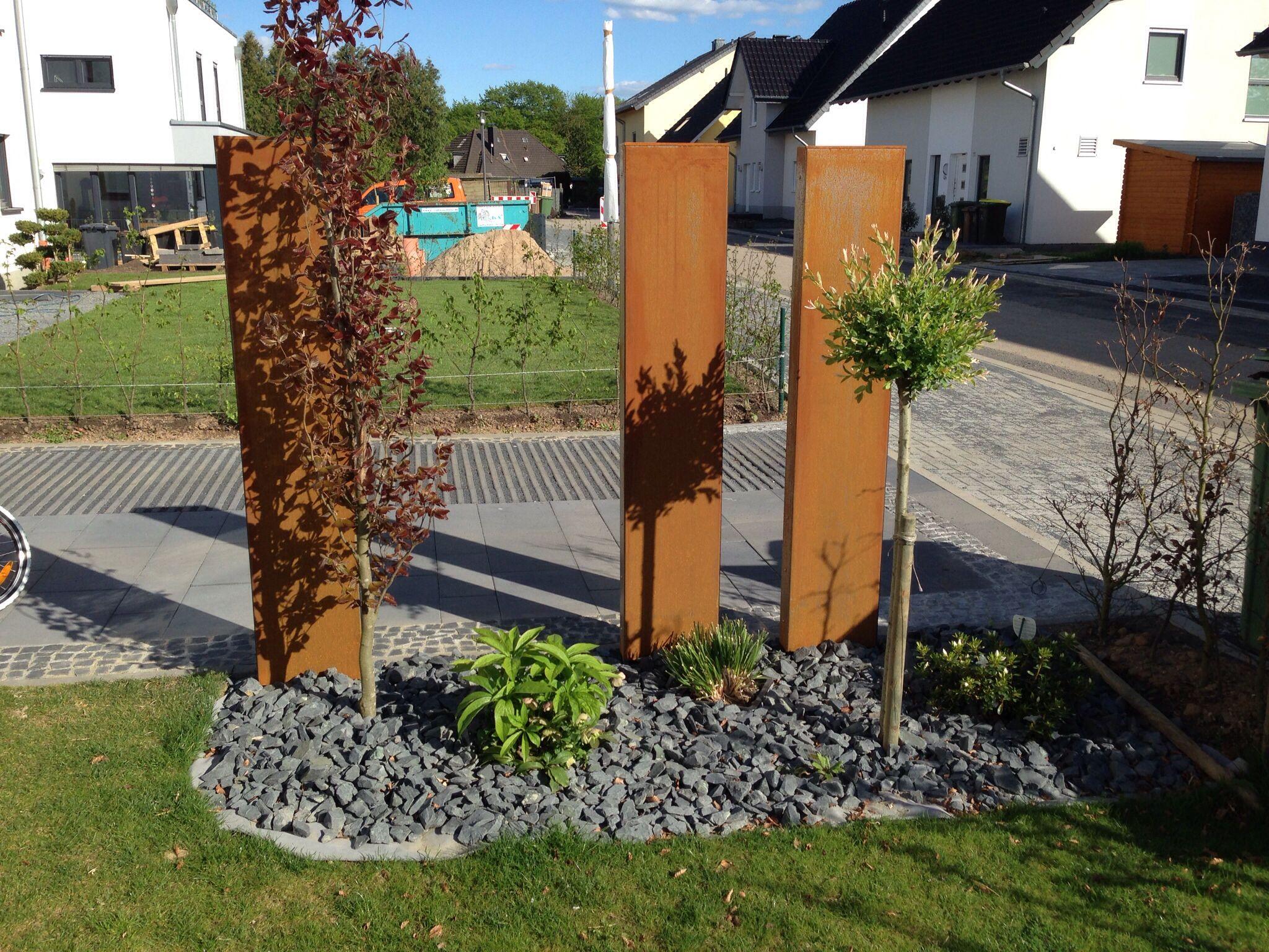 Stelen aus Cortenstahl Cortenstahl, Garten, Holz und stein